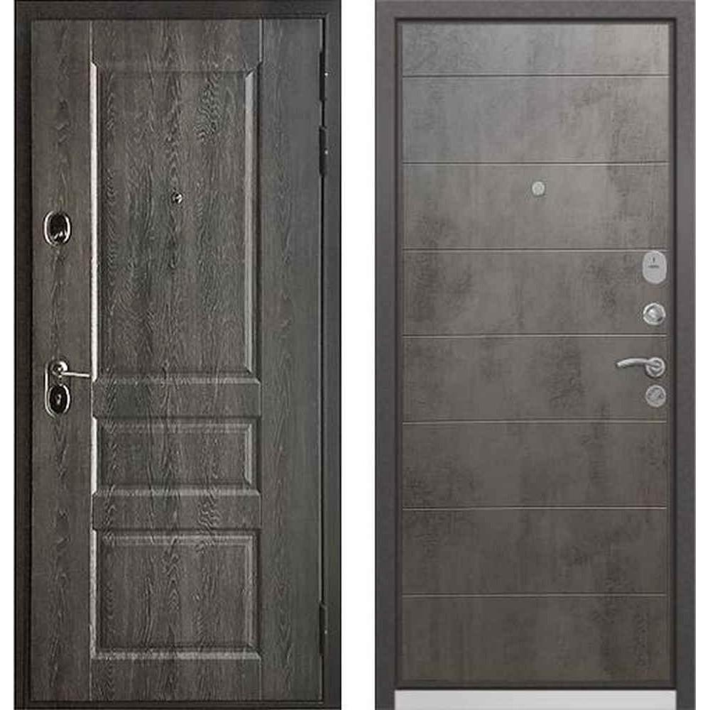 Входная дверь Бульдорс Standart 90 PP Дуб графит 9SD-2 / Бетон серый (с шумоизоляцией)