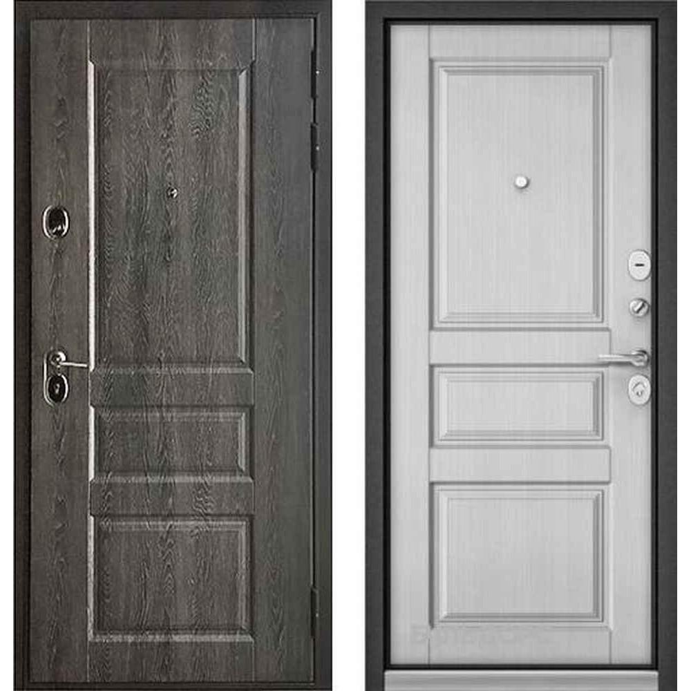 Входная дверь Бульдорс Standart 90 PP Дуб графит 9SD-2 / Ларче белый (с шумоизоляцией)