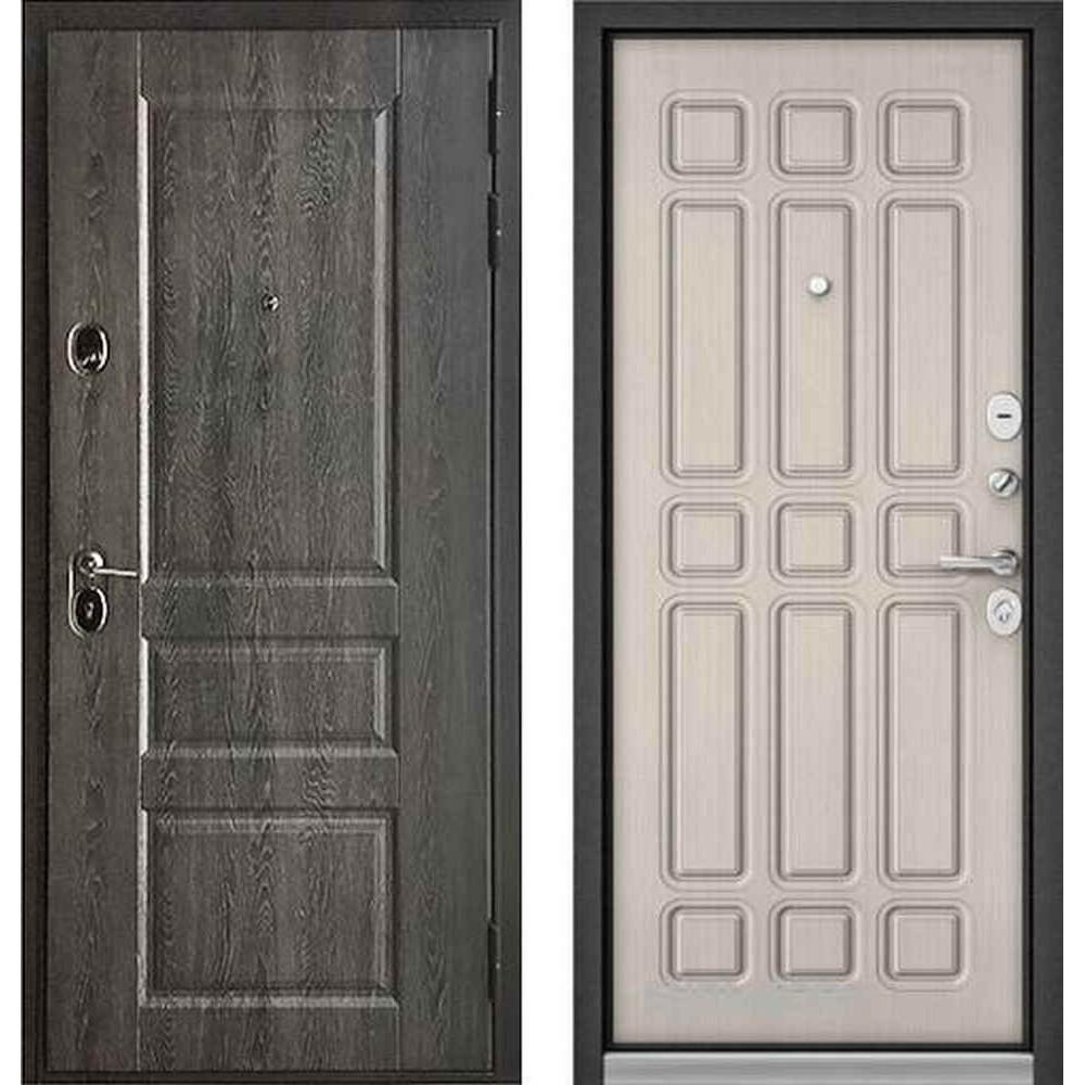Входная дверь Бульдорс Standart 90 PP Дуб графит 9SD-2 / Ларче бьянко (с шумоизоляцией)