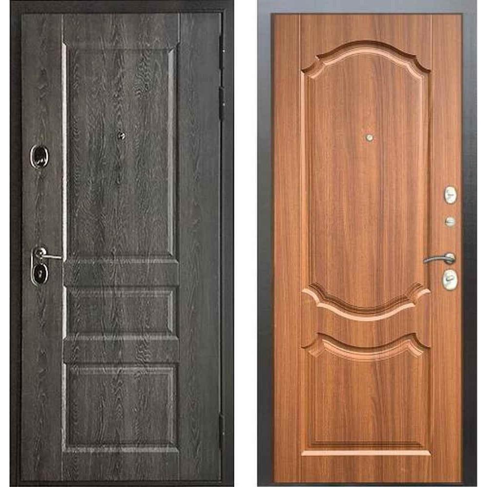 Входная дверь Бульдорс Standart 90 PP Дуб графит 9SD-2 / Орех лесной (с шумоизоляцией)