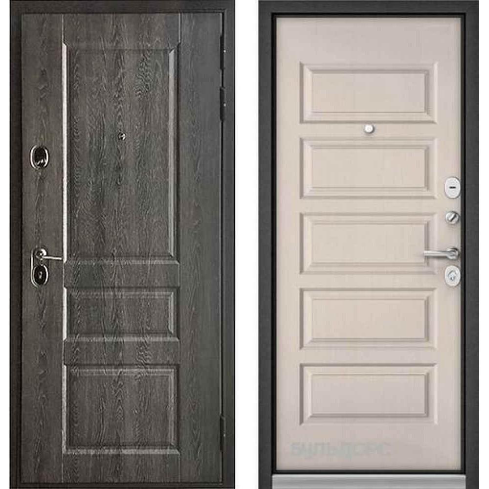 Входная дверь Бульдорс Standart 90 PP Дуб графит 9SD-2 / Светлый матовый (с шумоизоляцией)