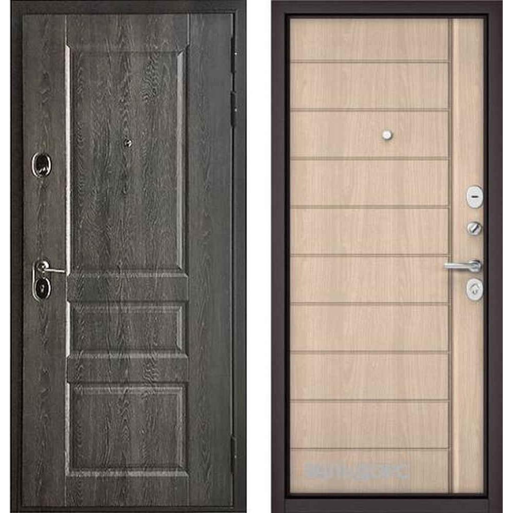 Входная дверь Бульдорс Standart 90 PP Дуб графит 9SD-2 / Ясень ривьера (с шумоизоляцией)