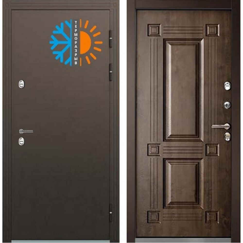 Входная дверь Бульдорс ТермоБУЛЬ-2 Грецкий Орех (С терморазрывом)