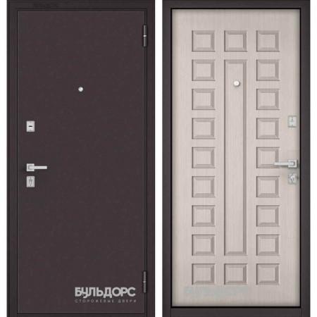 Входная дверь Бульдорс Mass-70 Букле шоколад/Ларче бьянко (Наружного открывания)