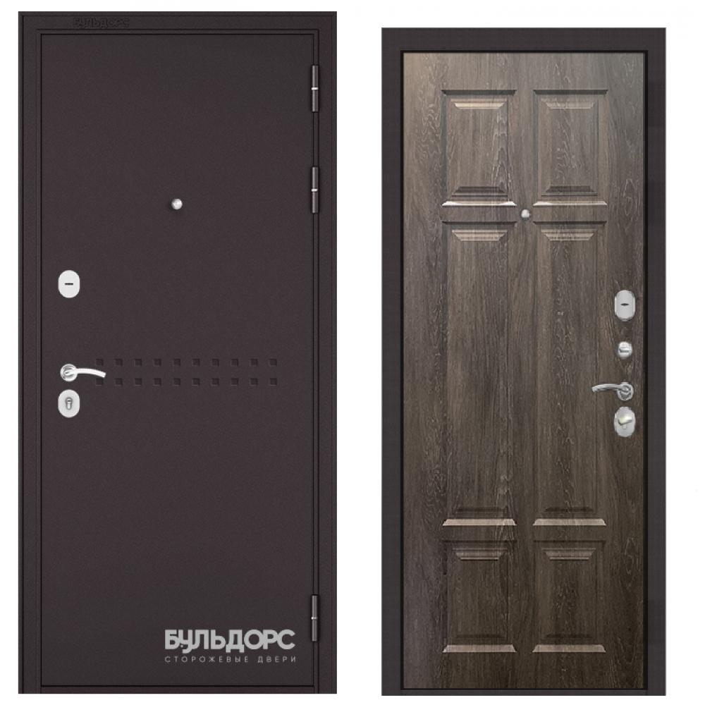 Входная дверь Бульдорс Mass-90 Букле шоколад R-4/Дуб шале серебро   (Трехконтурные)