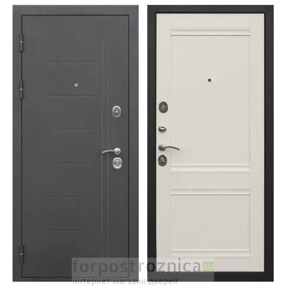 Входная дверь Цитадель Троя 10см муар Эш Вайт (Трехконтурные)