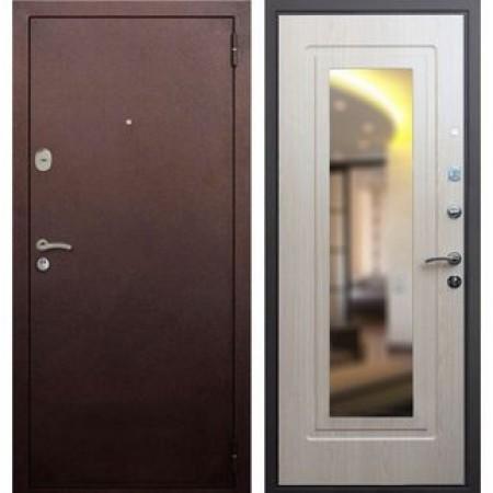 Входная дверь Рекс 1A Зеркало Беленый Дуб (Антивандальные)