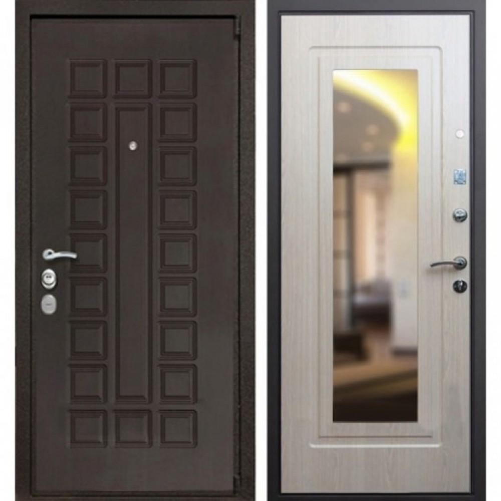 Входная дверь Рекс 4A Зеркало Беленый Дуб (сейфовые)