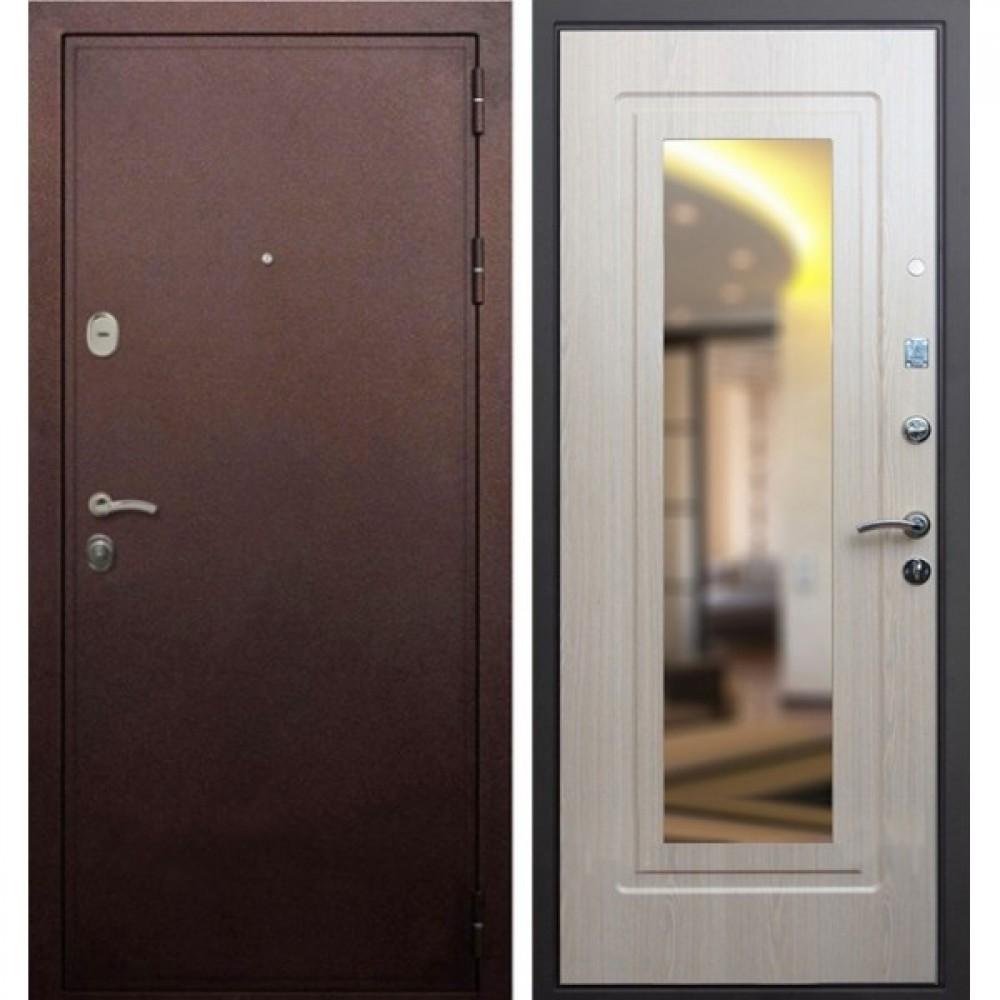 Входная дверь Рекс 5А Зеркало Беленый Дуб (Трехконтурные )