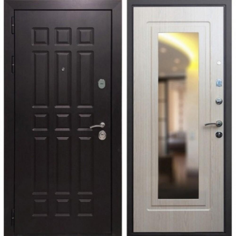 Входная дверь Рекс 8 Зеркало Беленый Дуб (сейфовые)
