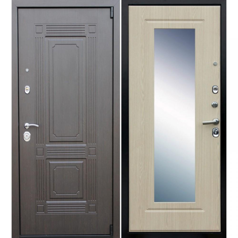 Входная дверь Рекс 9 Зеркало Беленый Дуб (с шумоизоляцией)