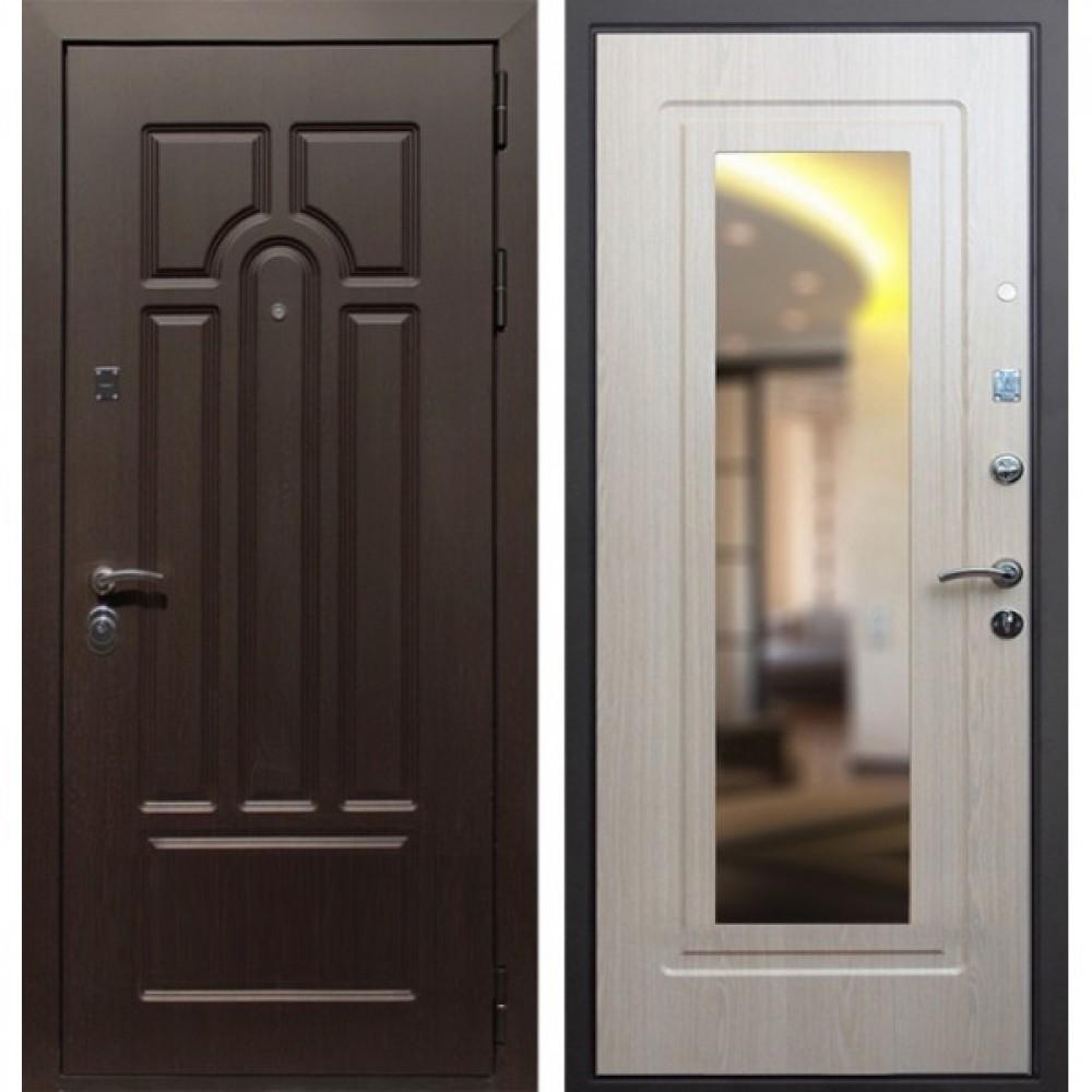 Входная дверь Рекс Эврика Зеркало Беленый Дуб (С шумоизоляцией)