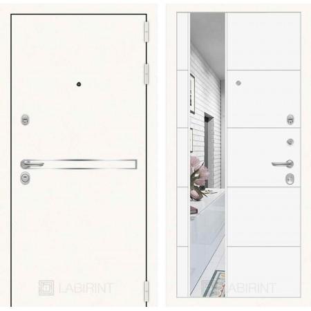 Входная дверь Лабиринт LINE WHITE с Зеркалом 19 - Белый софт ( трехконтурные )