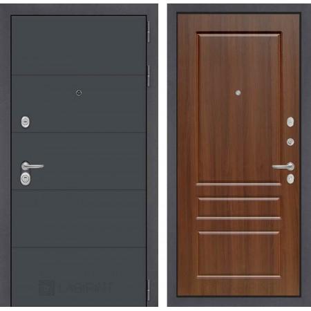 Входная дверь Лабиринт ART графит 03 - Орех бренди (трехконтурные)