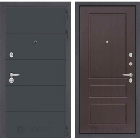 Входная дверь Лабиринт ART графит 03 - Орех премиум (трехконтурные)