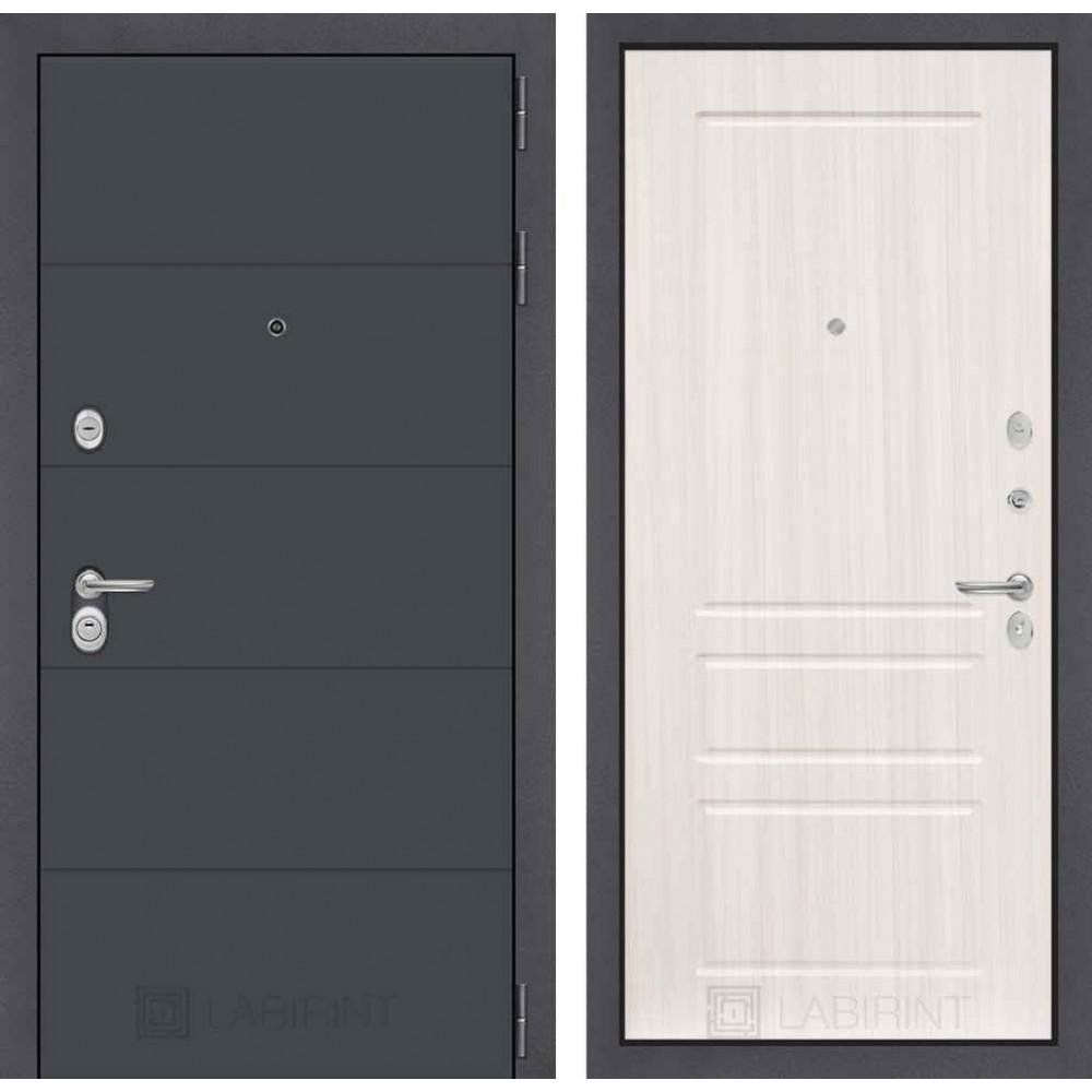 Входная дверь Лабиринт ART графит 03 - Сандал белый (с шумоизоляцией)