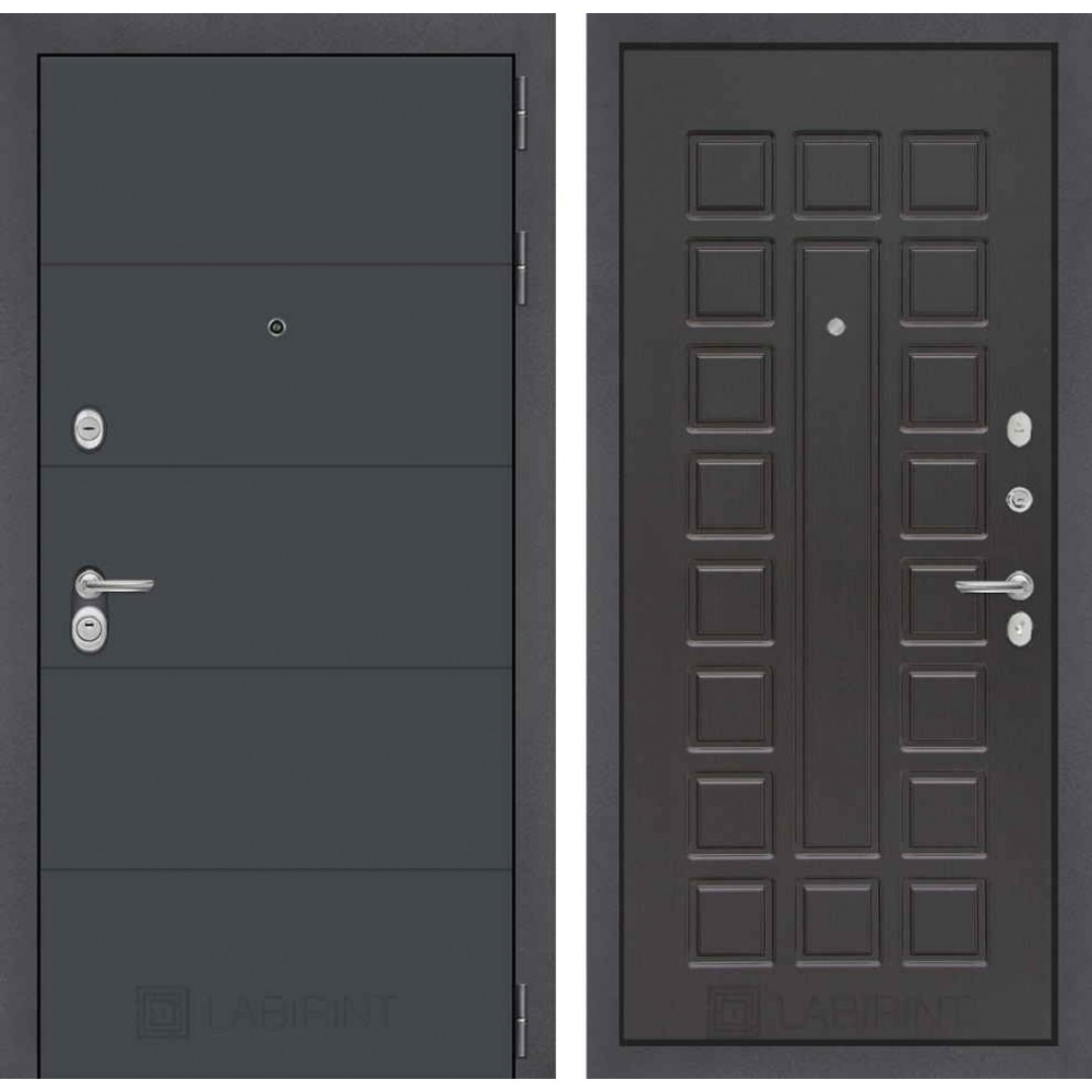 Входная дверь Лабиринт ART графит 04 - Венге (утепленные )
