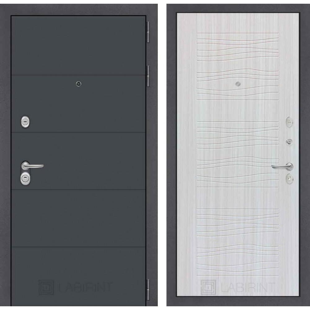 Входная дверь Лабиринт ART графит 06 - Белое дерево(с шумоизоляцией)