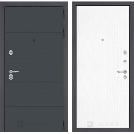 Входная дверь Лабиринт ART графит 07 - Белое дерево (трехконтурные)