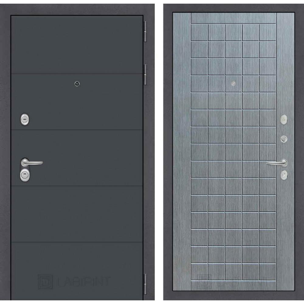 Входная дверь Лабиринт ART графит 09 - Лен сильвер грей (утепленные)