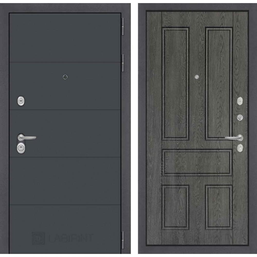Входная дверь Лабиринт ART графит 10 - Дуб филадельфия графит (трехконтурные)