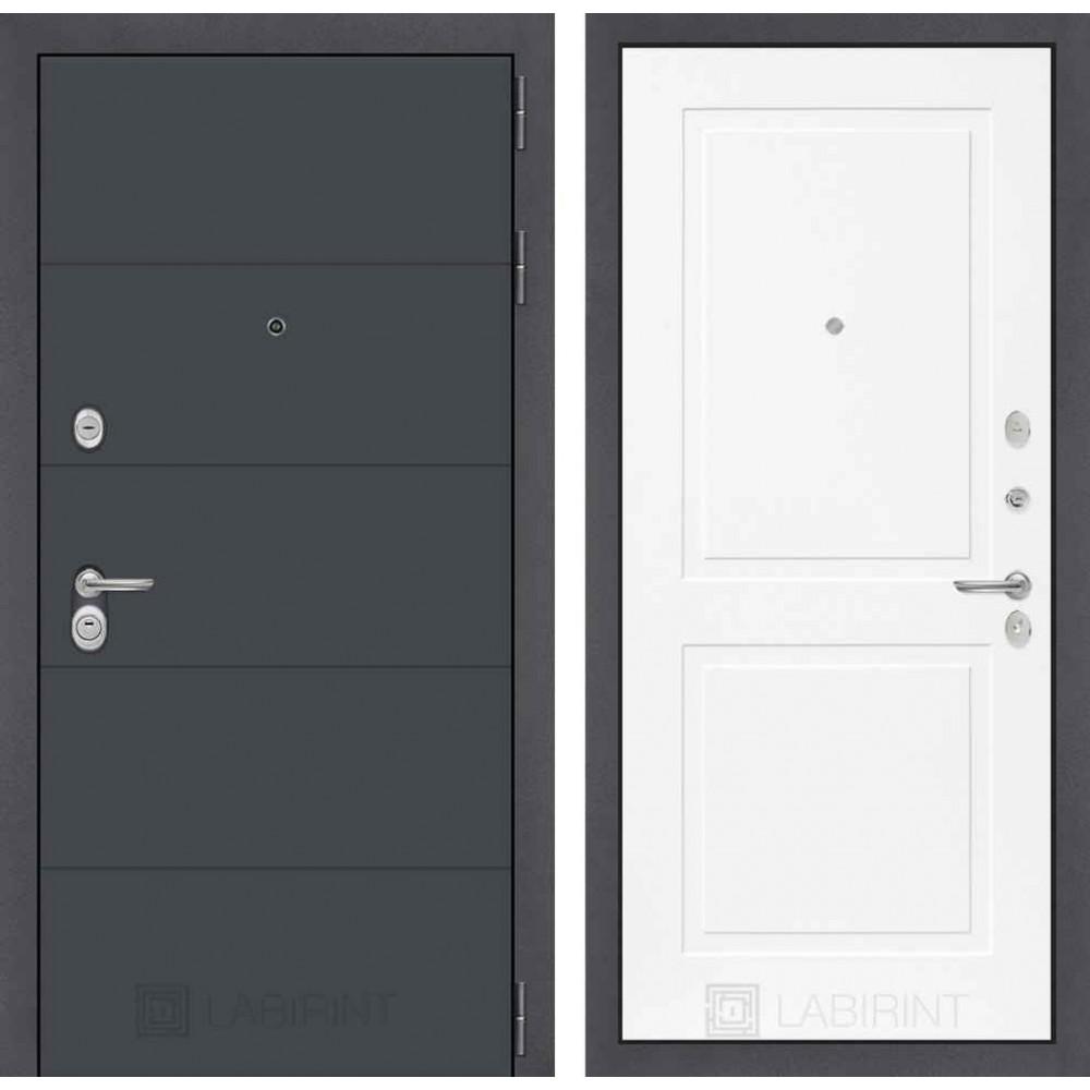 Входная дверь Лабиринт ART графит 11 - Белый софт (с шумоизоляцией)