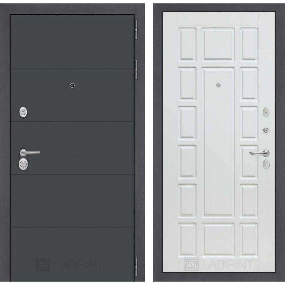 Входная дверь Лабиринт ART графит 12 - Белое дерево (с шумоизоляцией)