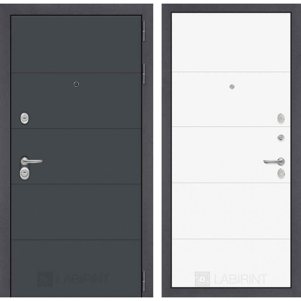 Входная дверь Лабиринт ART графит 13 - Белый софт (утепленные )