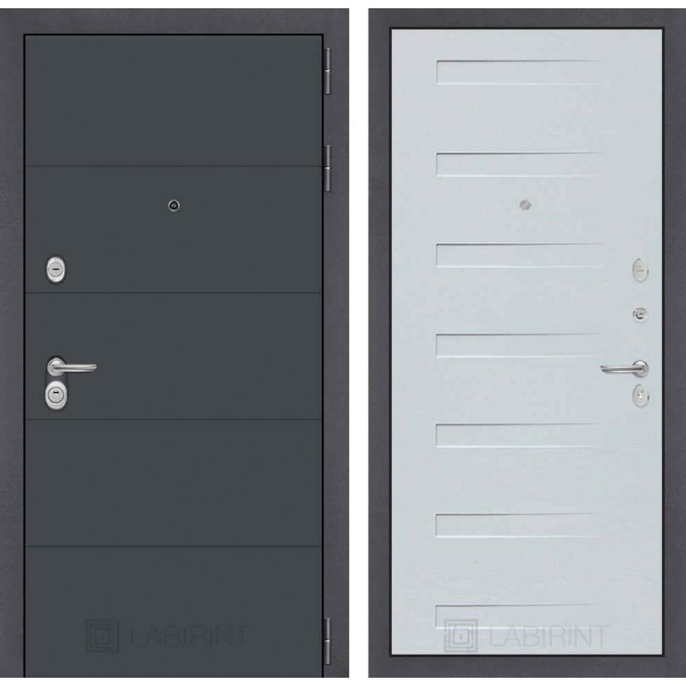 Входная дверь Лабиринт ART графит 14 - Дуб кантри белый горизонтальный (с шумоизоляцией)