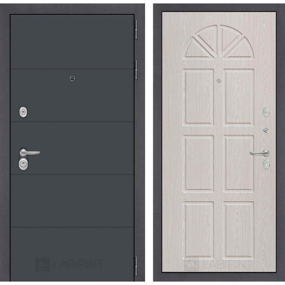 Входная дверь Лабиринт ART графит 15 - Алмон 25 (утепленные)