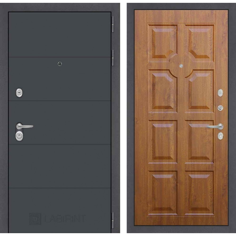 Входная дверь Лабиринт ART графит 17 - Золотой дуб (трехконтурные)