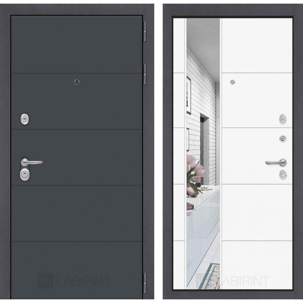 Входная дверь Лабиринт ART графит с Зеркалом 19 - Белый софт ( утепленные)