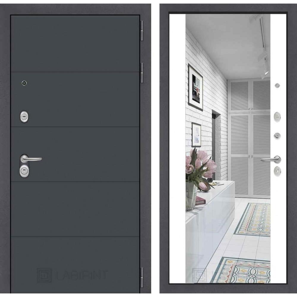 Входная дверь Лабиринт ART графит с Зеркалом Максимум - Белый софт (с шумоизоляцией)