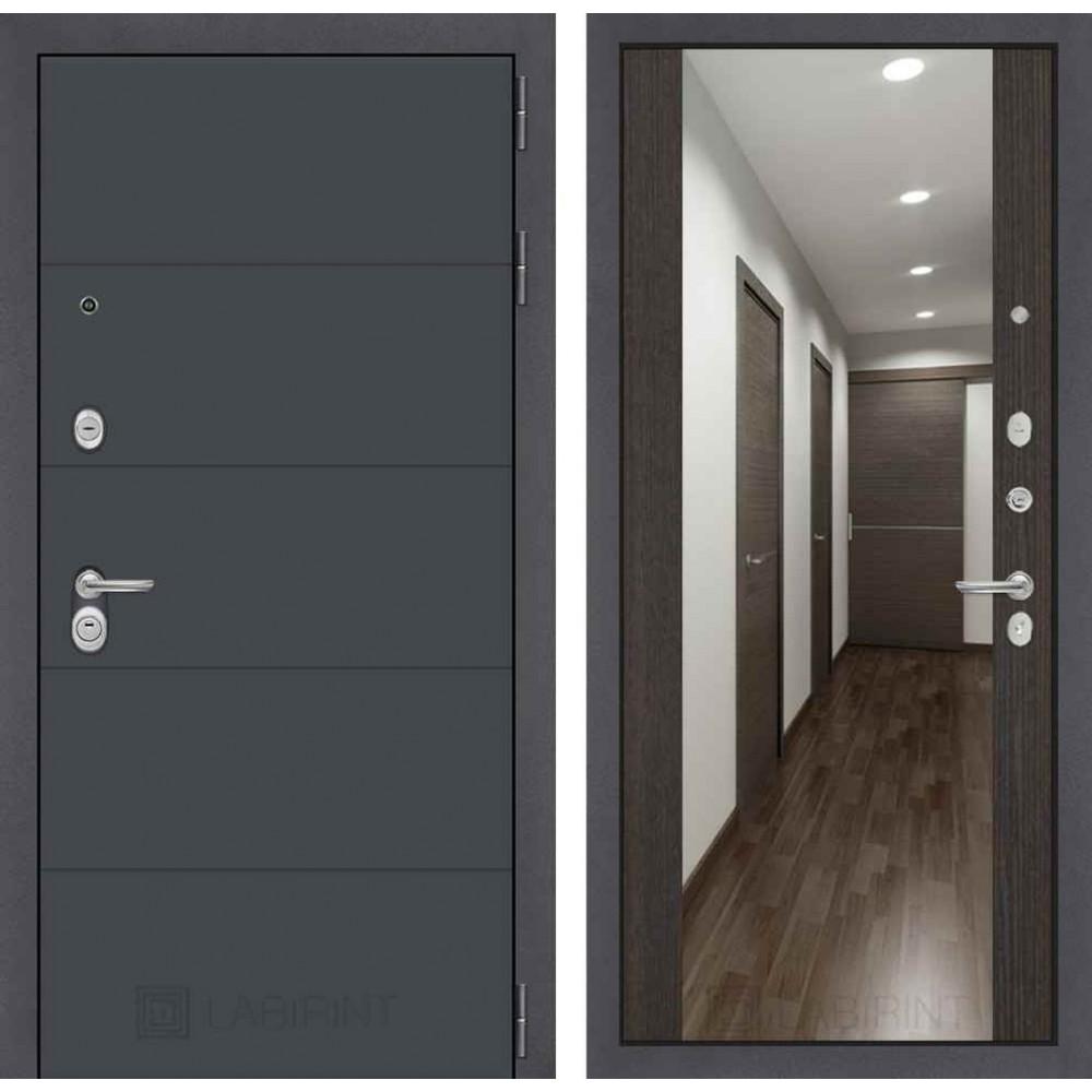 Входная дверь Лабиринт ART графит с Зеркалом Максимум - Венге (с шумоизоляцией)