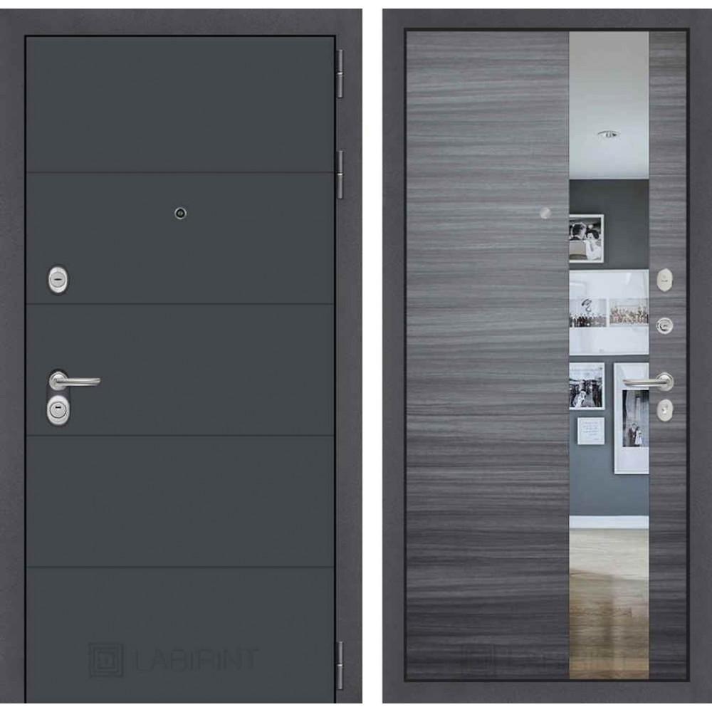 Входная дверь Лабиринт ART графит с Зеркалом - Сандал серый горизонтальный (трехконтурные )