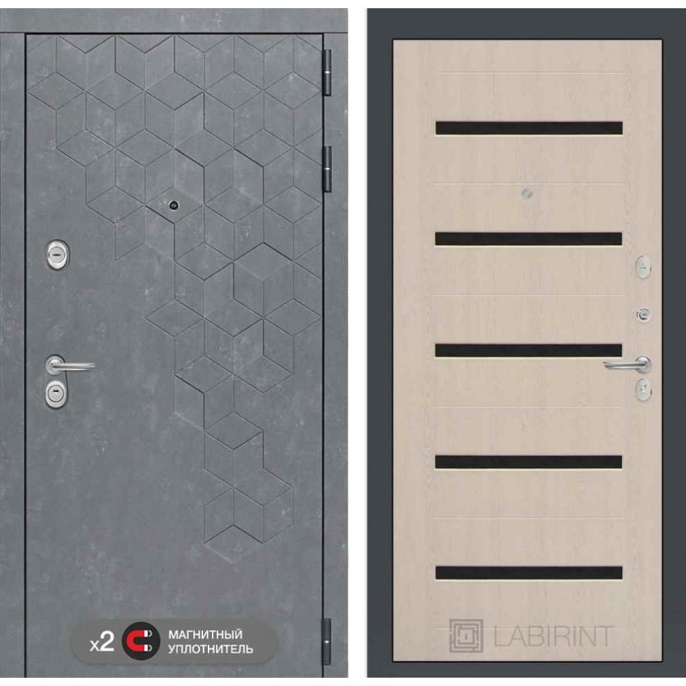 Входная дверь Лабиринт Бетон 01  - Беленый дуб, стекло черное ( с шумоизоляцией)