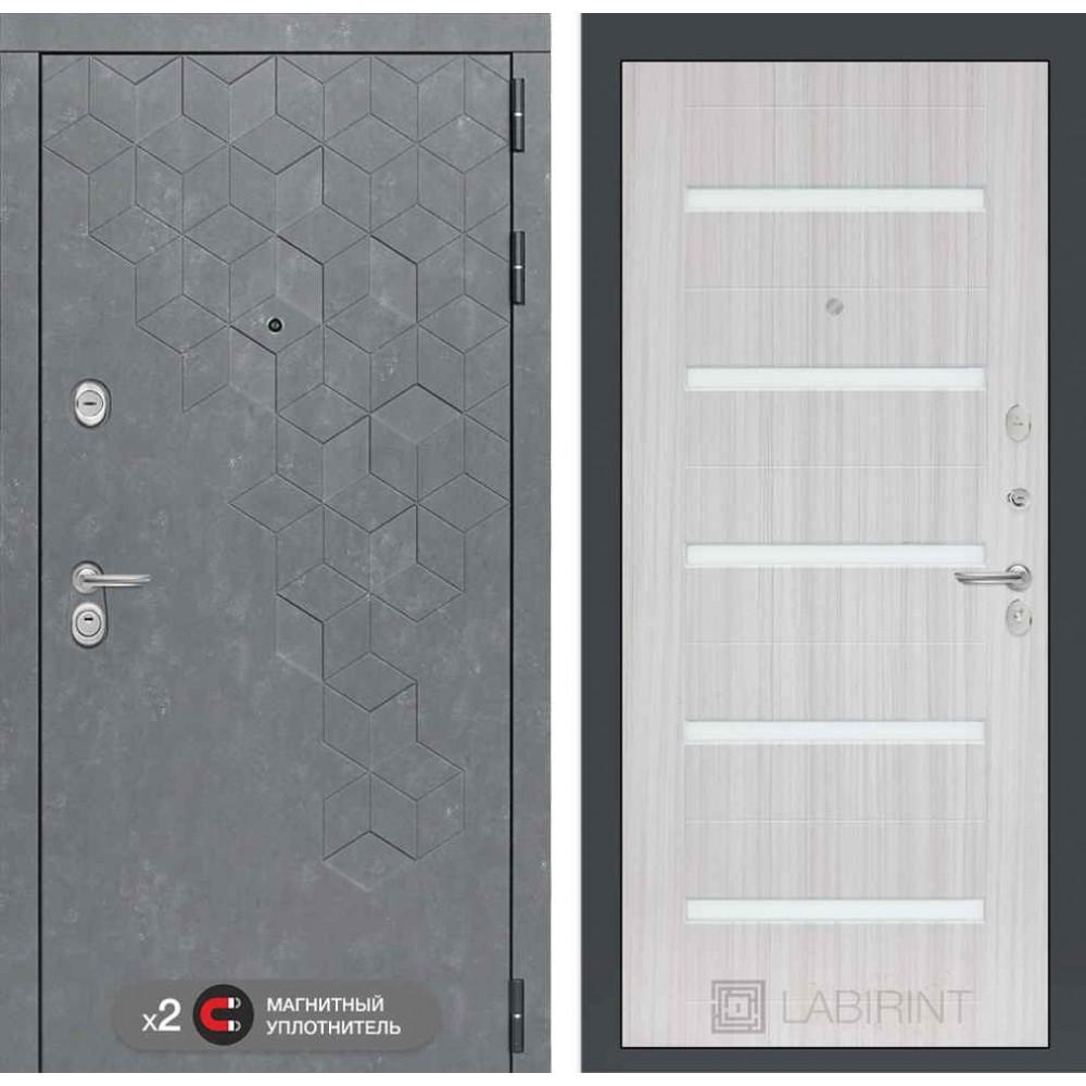 Входная дверь Лабиринт Бетон 01 - Сандал белый, стекло белое (трехкотурные)