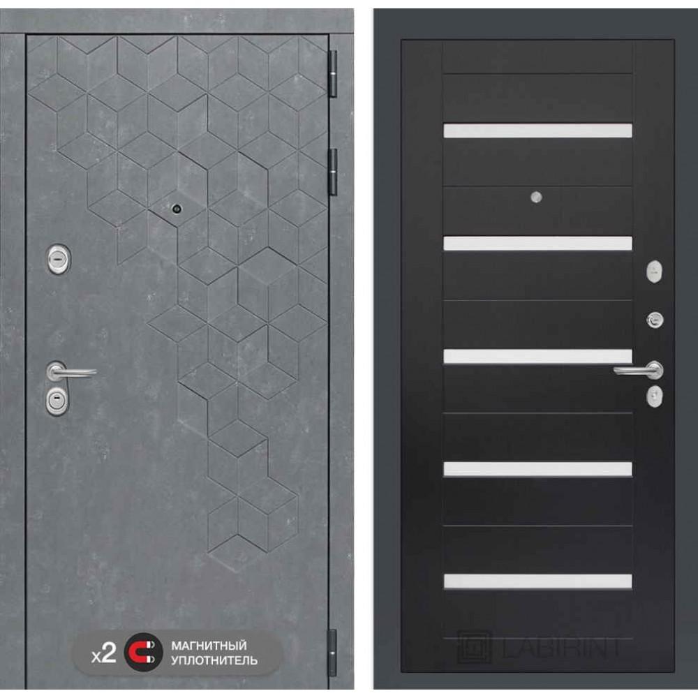 Входная дверь Лабиринт Бетон 01 - Венге, стекло белое (с шумоизоляцией)