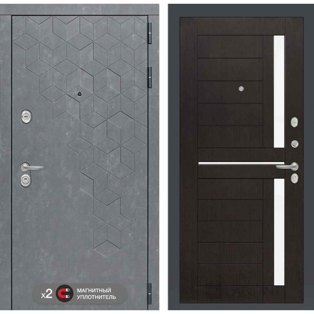 Входная дверь Лабиринт Бетон 02 - Венге, стекло белое (сейфовые)