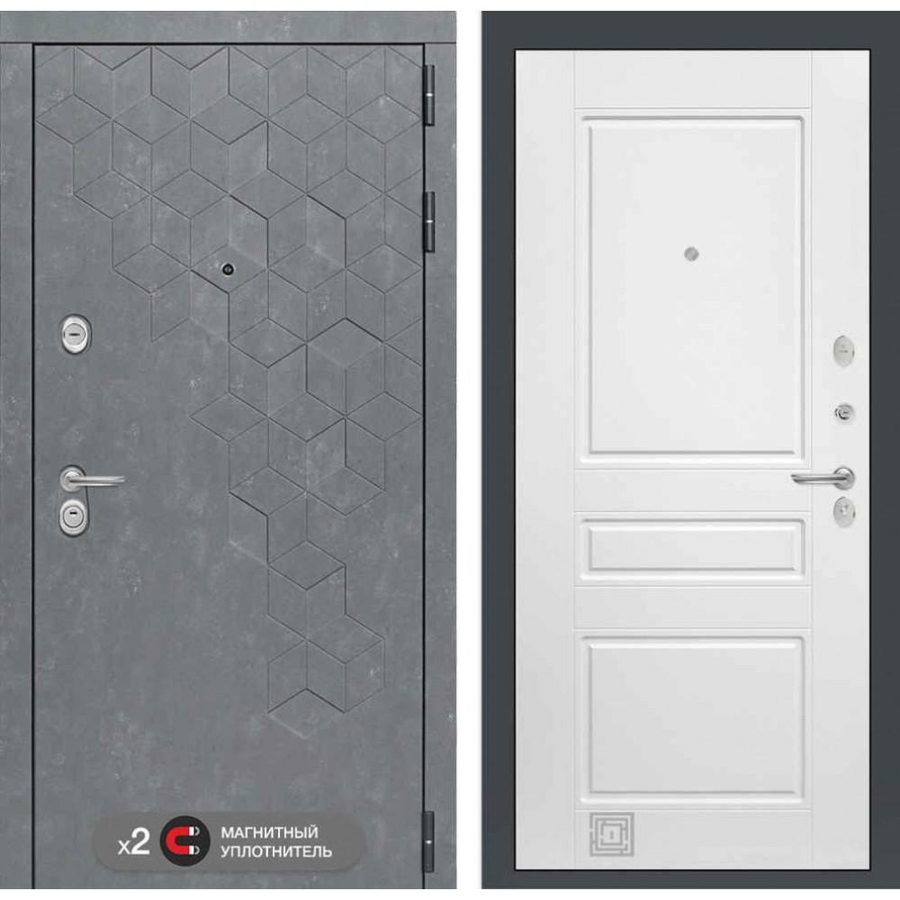 Входная дверь Лабиринт Бетон  03 - Белый софт (трехконтурные)