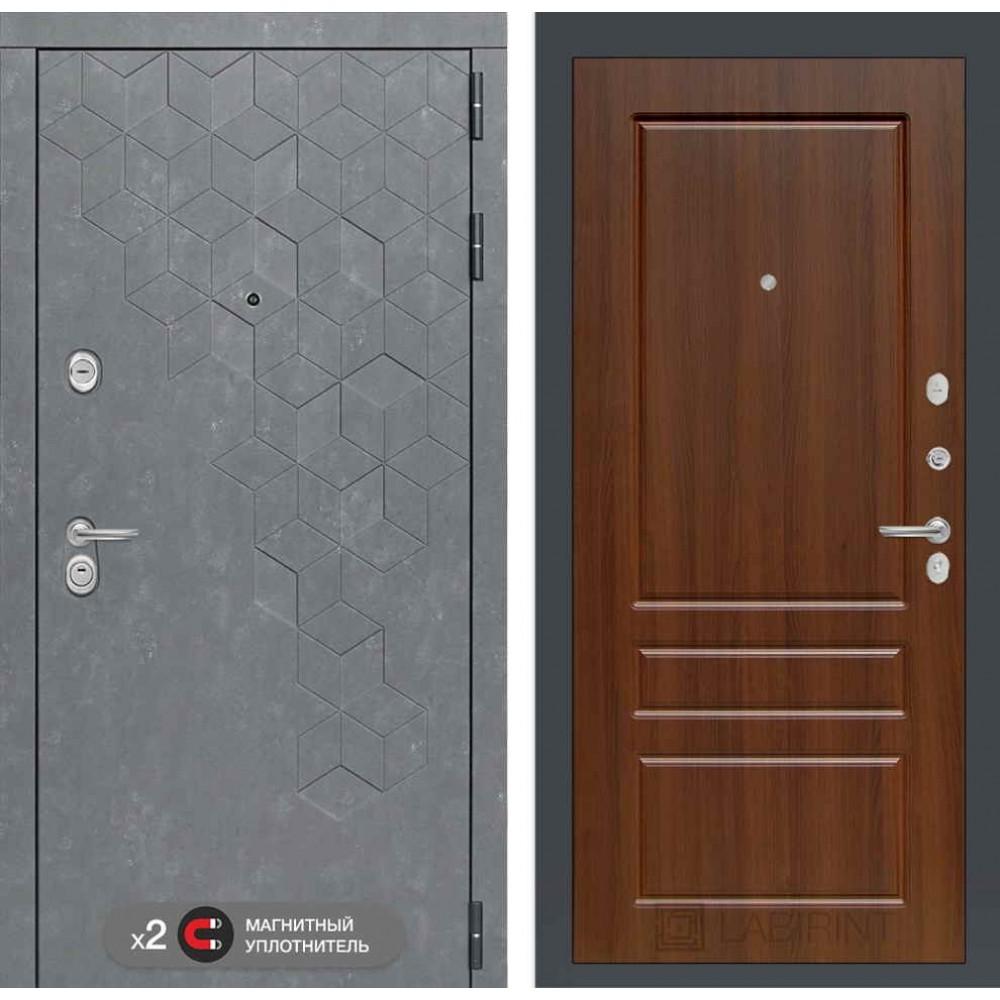 Входная дверь Лабиринт Бетон 03 - Орех бренди ( трехконтурные )