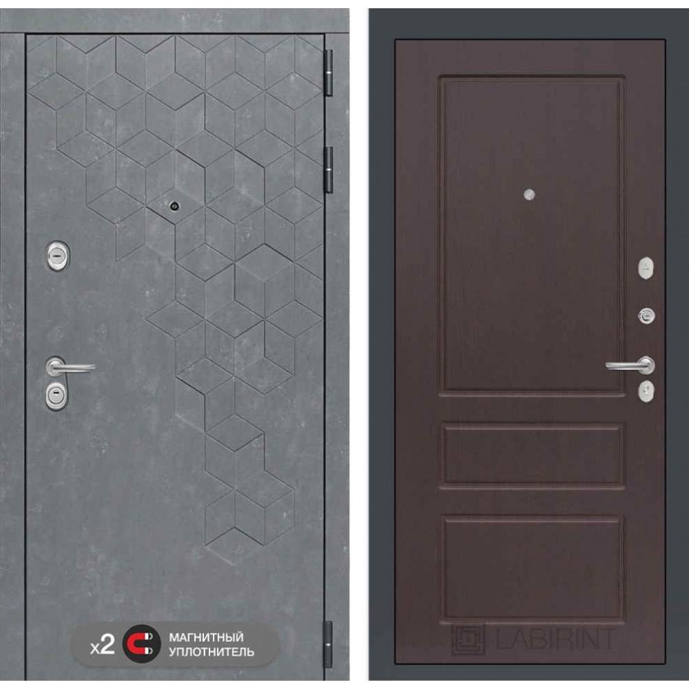 Входная дверь Лабиринт Бетон  03 - Орех премиум ( трехконтурные)