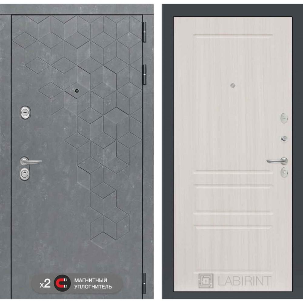 Входная дверь Лабиринт Бетон 03 - Сандал белый ( трехконтурные)