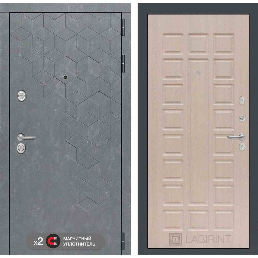 Входная дверь Лабиринт Бетон 04 - Беленый дуб ( утепленные )