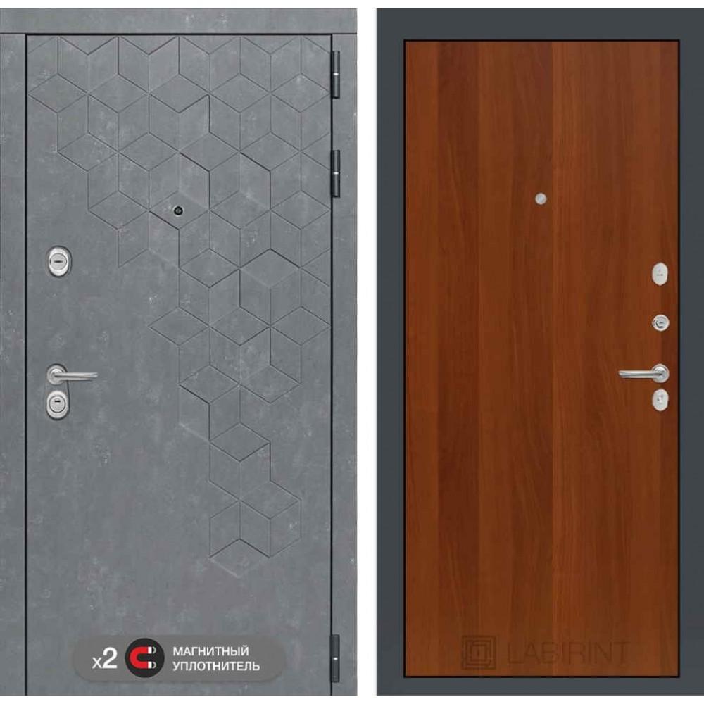 Входная дверь Лабиринт Бетон  05 - Итальянский орех ( с шумоизоляцией )