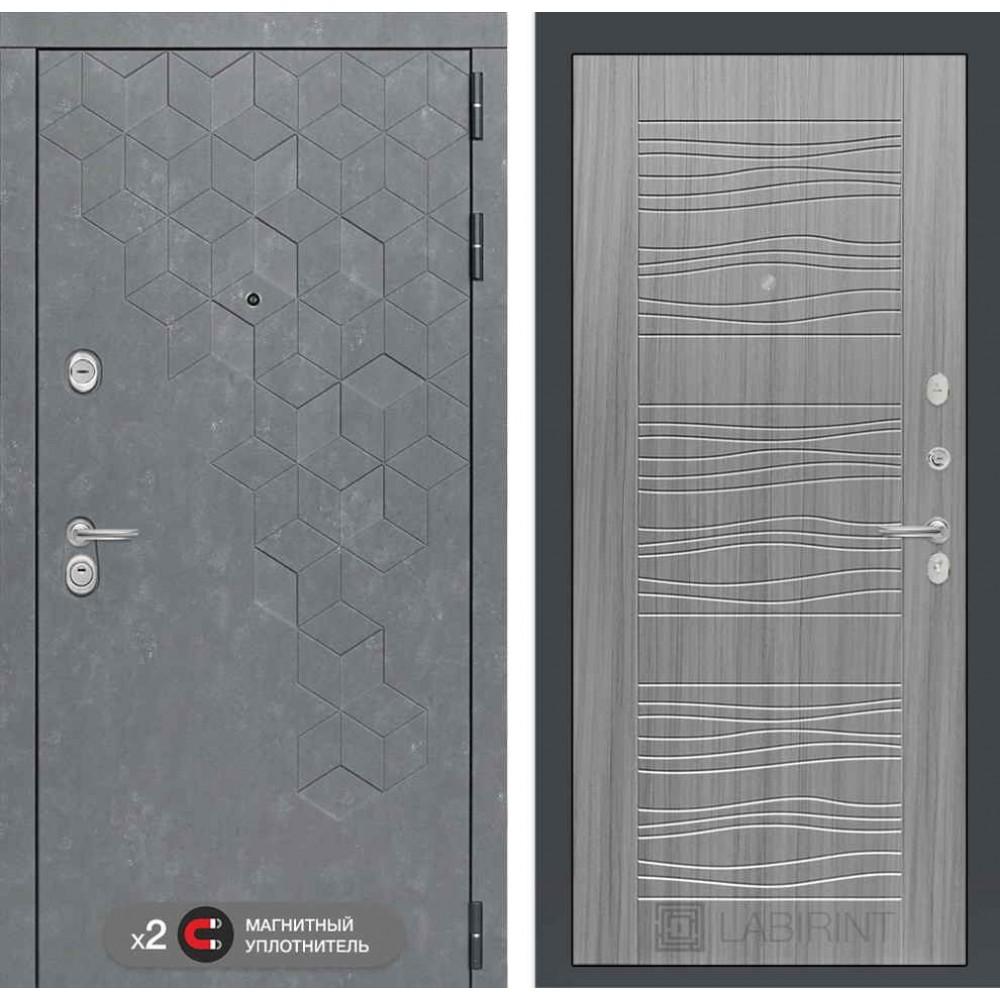 Входная дверь Лабиринт Бетон 06 - Сандал серый ( утепленные )