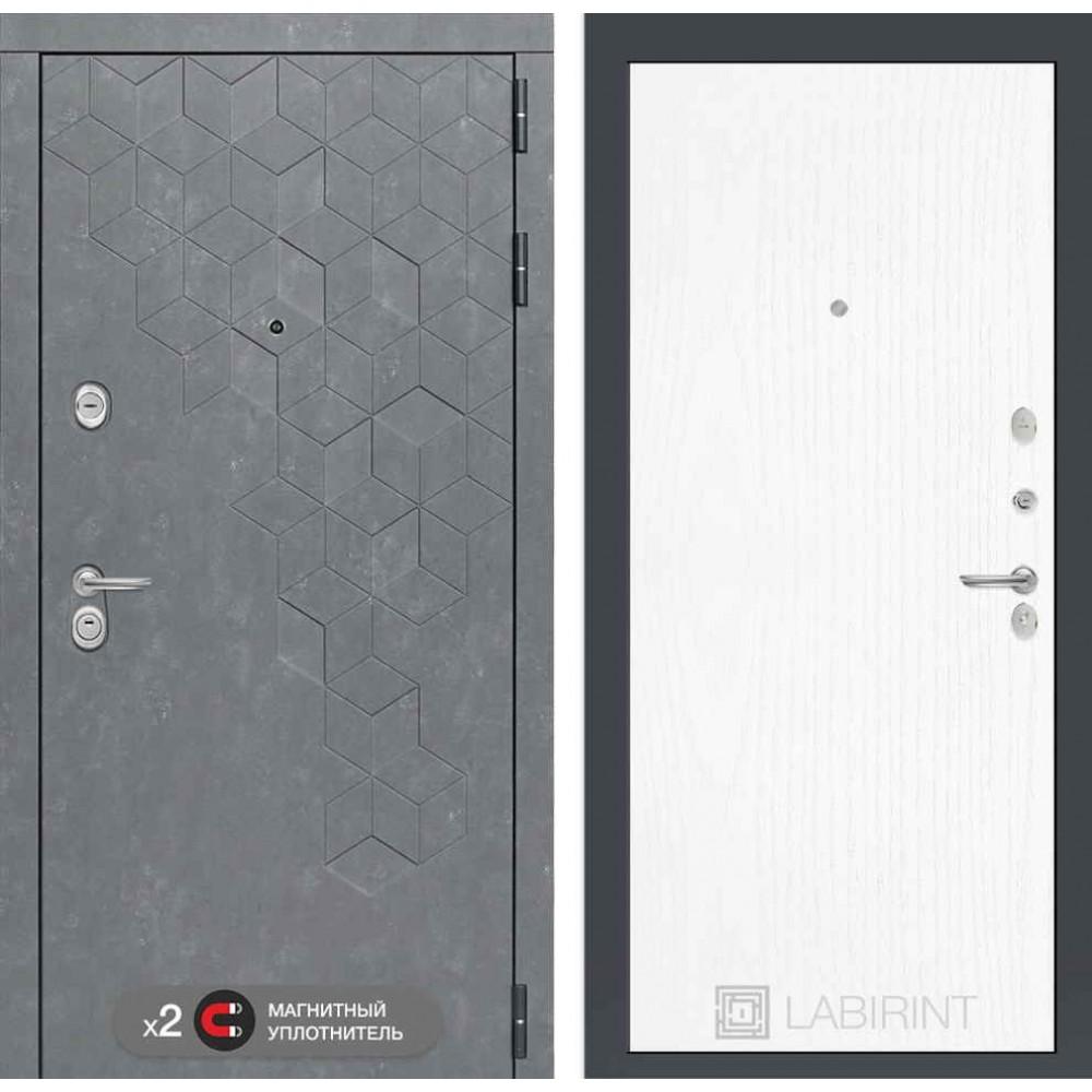 Входная дверь Лабиринт Бетон 07 - Белое дерево ( сейфовые )