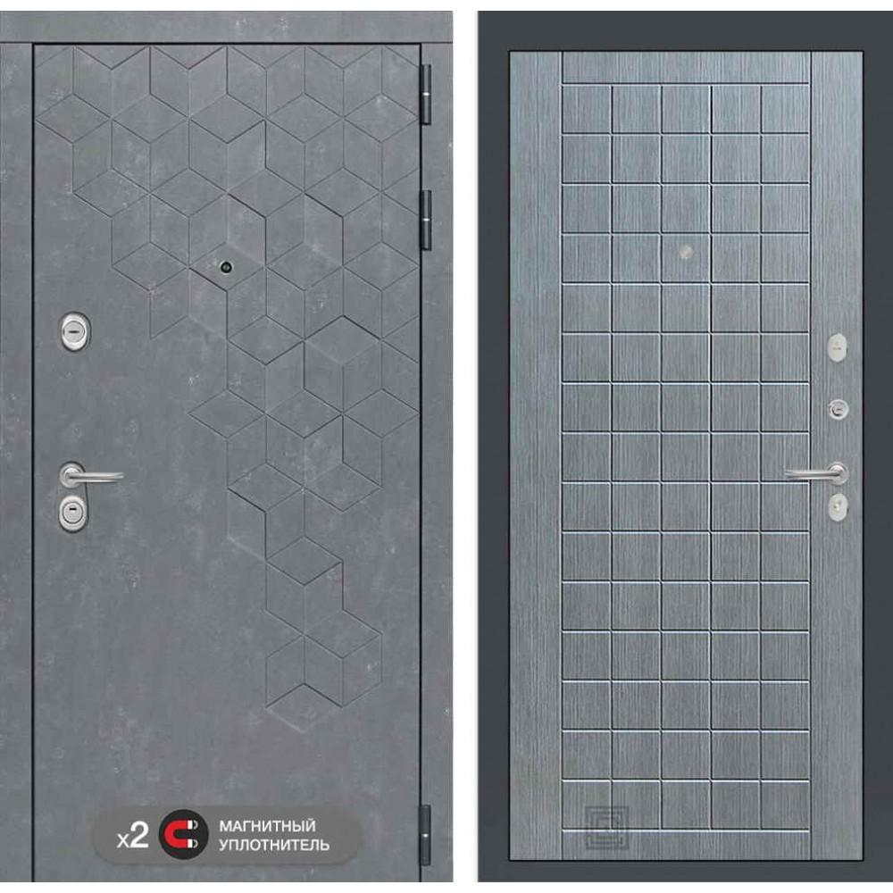 Входная дверь Лабиринт Бетон 09 - Лен сильвер грей ( с шумоизоляцией)