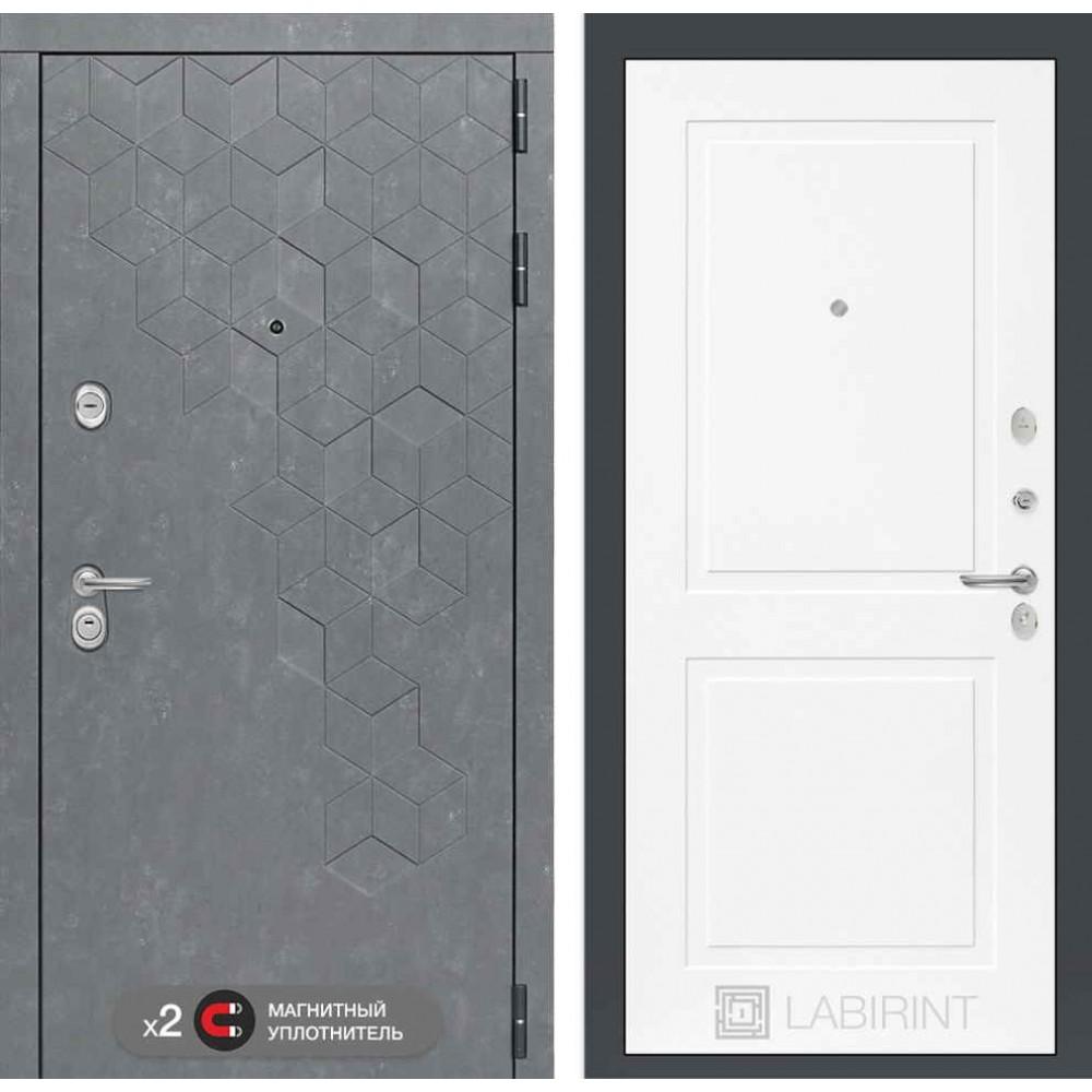 Входная дверь Лабиринт Бетон 11 - Белый софт (утепленные)