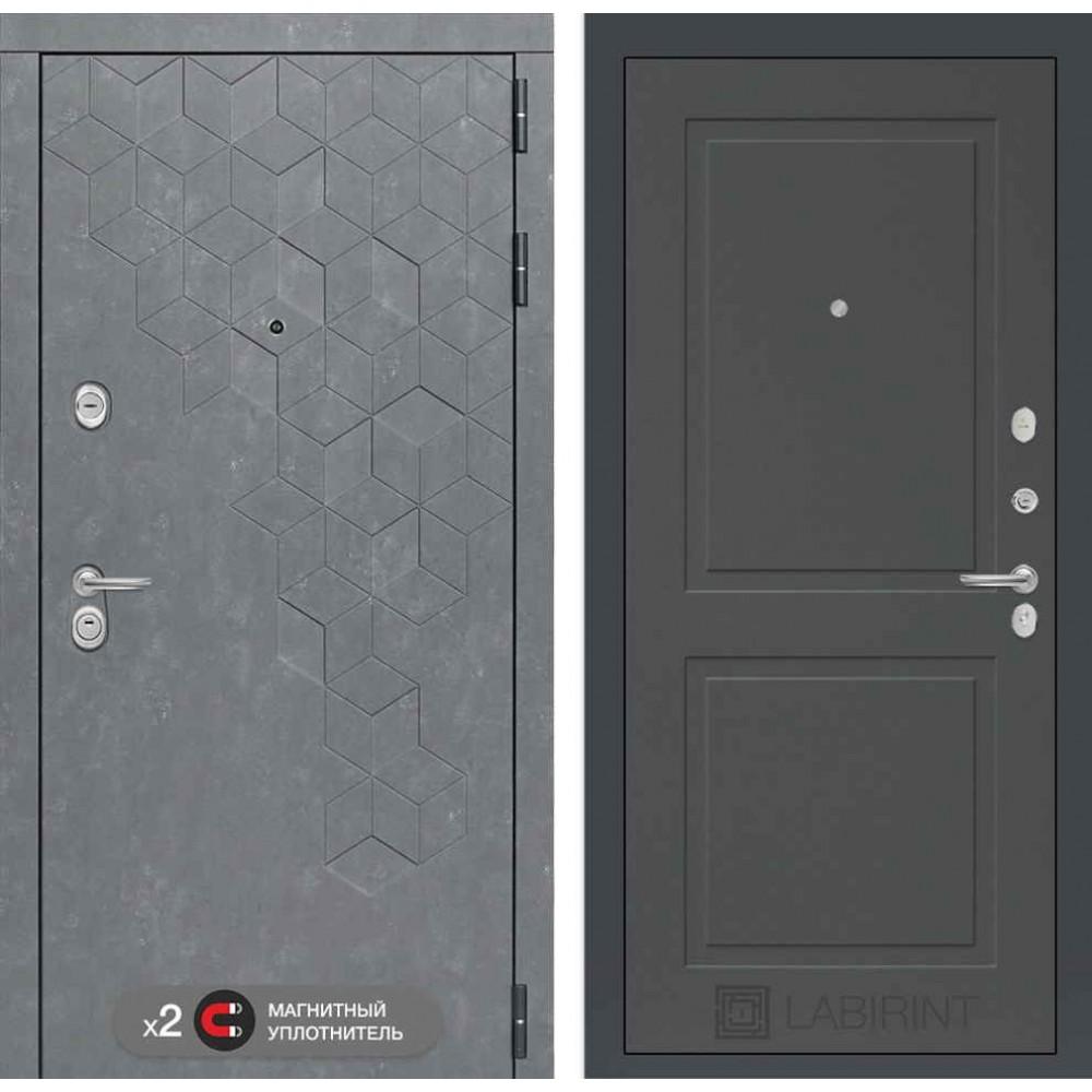 Входная дверь Лабиринт Бетон 11 - Графит софт (с шумоизоляцией)